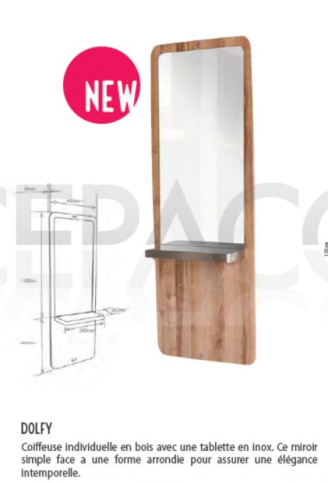 0189110 DOLFY Coiffeuse individuelle en bois avec une tablette en inox