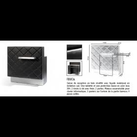 0189005 FIDUCIA Caisse de reception en bois stratifié avec façade matelassé en imitation cuir
