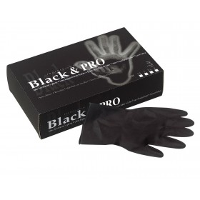 BLACK & PRO Gants en latex noirs 20pcs