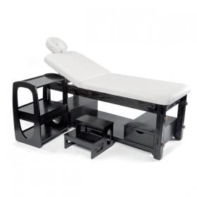 ZEN MASSAGE BED Table de massage en bois foncé, réglable en hauteur