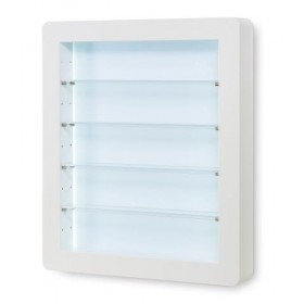 7300760 Vitrine murale en stratifié blanc, étagères en acrylique, éclairage LED.
