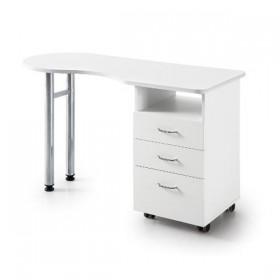 7310640 Table de manucure en bois blanc sur roulettes