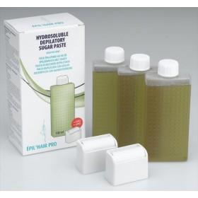 7430005 Cire au sucre Olive peaux sensibles 3 cartouches 110ml + 2 têtes d'application
