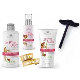 Pack Enfant Les P'tits Fauves - Shampooing + Démêlant + Gel Spécial Enfants (Stylo Moustache offert)