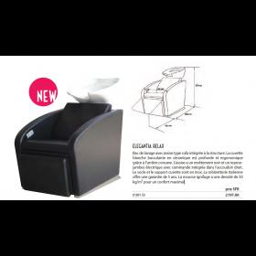 0189150 ELEGANTIA RELAX Bac de lavage complet noir  avec repose-jambes électrique