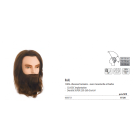 0030731 Tête d'apprentissage Karl avec barbe châtain