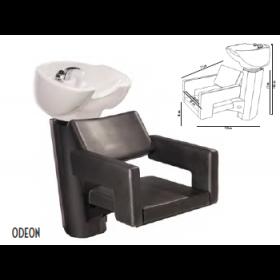 0190211 ODEON  Bac de lavage noir avec cuvette céramique basculante