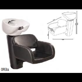 0190213 OPERA Bac de lavage noir avec cuvette céramique basculante